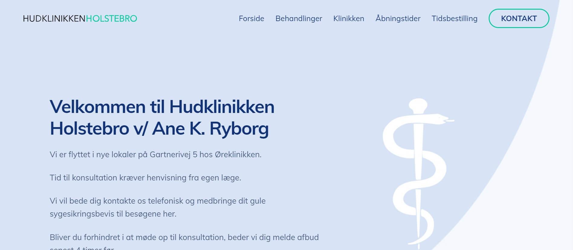 Hjemmeside til hudklinik / hudlæge